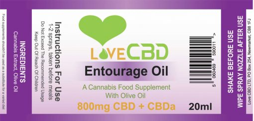 800mg entourage oil label