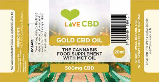 500mg gold cbd oil label